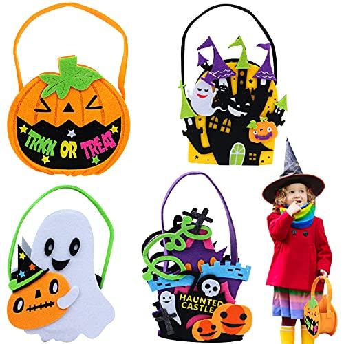 SevenMye 4 Pack Halloween Candy Bags Goodie Bags Protable Handbag Halloween Treat Bags Canvas Candy Tote Buckets Protable Handbags Smile Pumpkin Bag Halloween Decorations Halloween Treat Bags