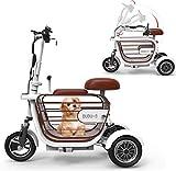 ZYW Adulto Luz Al Aire Libre De Recreo Triciclo Eléctrico Bicicleta Eléctrica Plegable Scooter De 48V / 10AH / Viajando 45 Kilometros / + Jaula del Animal Doméstico,Rosado