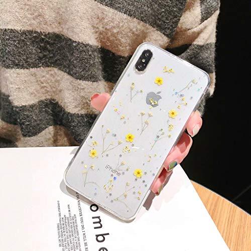 Bakicey Custodia per iPhone 7/8 Plus iPhone XS Max Xr con fiori secchi e cristalli in gel iPhone XS X Custodia protettiva realizzata a mano per iPhone 6s Plus/6
