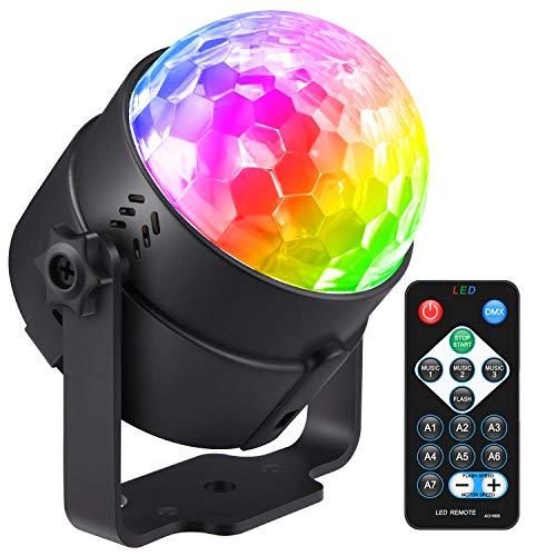 LED Discokugel, Donner Discolicht Musikgesteuert Partylicht Disco Lichteffekte Bühnenbeleuchtung 7 Farben Modi mit Fernbedienung für Disco, DJ, Bar, Club, Party, Dekoration