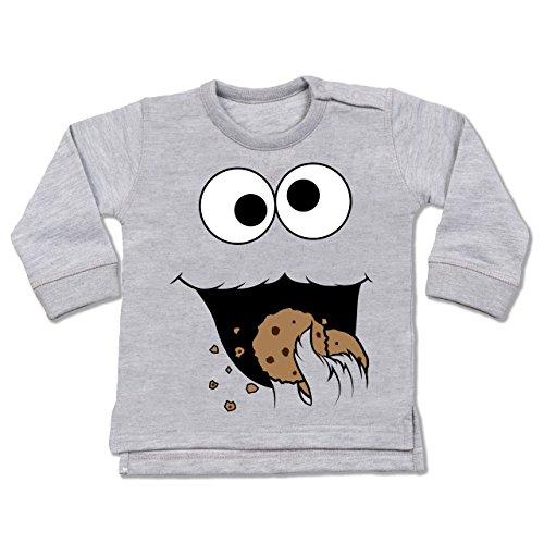 Shirtracer Karneval und Fasching Baby - Keks-Monster - 18/24 Monate - Grau meliert - Pullover Baby Monster - BZ31 - Baby Pullover