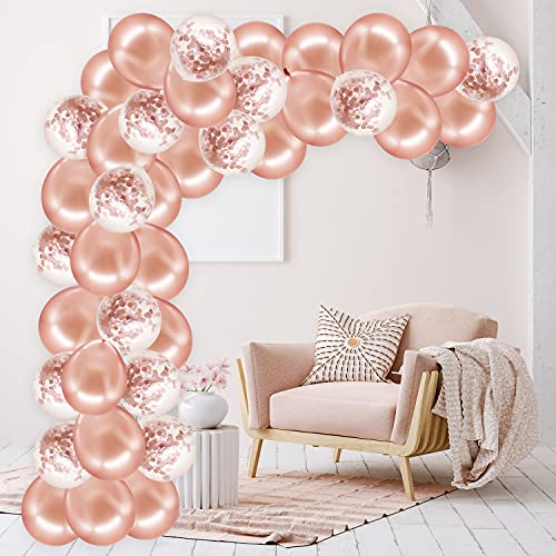Rorchio Rose Gold Balloon Arch Garland Kit, Rose Gold Balloons and Confetti Balloons, Balloon Tie and Tape for Birthday Wedding Party Decoration