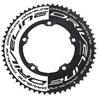 Driveline AL7075 Road Bike Bicycle TT Chainring 58T, BCD 130mm, Black x White #ST1554