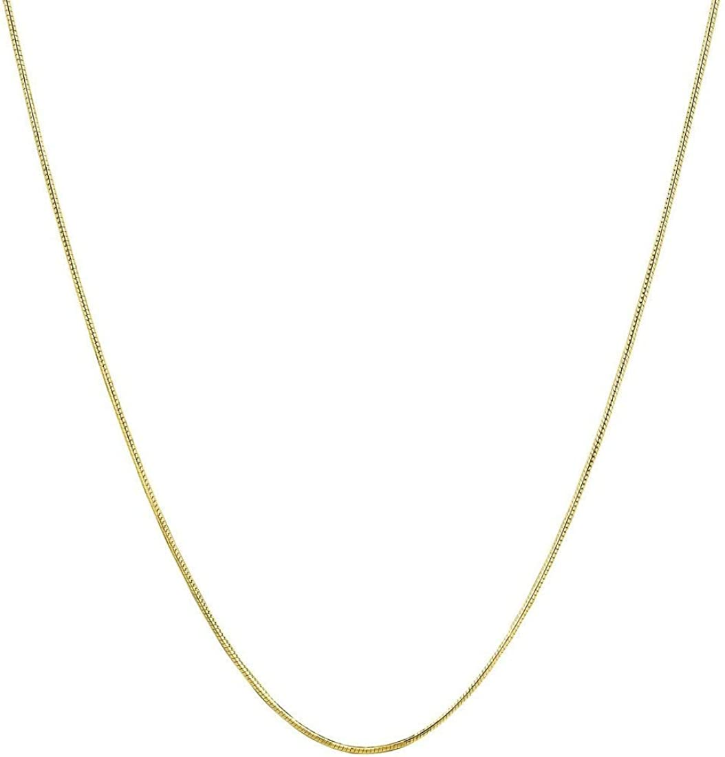 Verona Jewelers 14K Solid Gold Snake Chain .7MM Gold Snake Necklace Chain, Solid Round Snake Chain Necklace-14K Gold Chain for Pendants, Magic Flexible Snake Chain, 14K Snake Chain