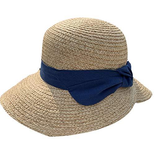 AYUSHOP Sombrero de paja Panamá para mujer, gorra de jazz con lazo, para primavera y verano, diseño elegante, estilo Panamá, con decoración de lazo, suave y cómodo