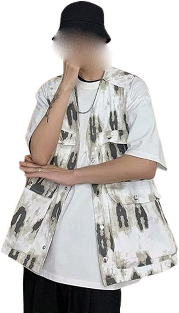 Men Tie Dye Multi-Pockets High Street Vests Hip-Hop Mens Retro Casual Jackets Vest