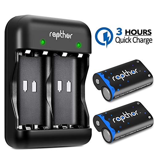 Xbox One Rechargeable Battery Pack [2x2500mAh] Xbox One Controller Battery with 3H Quick Charger for Xbox One/Xbox One S/Xbox One X/Xbox One Elite Wireless Controller (2 Battery & Charger Set)