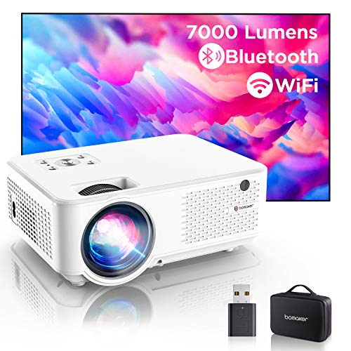 Bomaker C9 Mini Beamer WiFi, 7000 1280P Full HD Supported 4K Heimkino Video Beamer, Max. 300'', 90.000 Stunden, kompatibel mit TV Stick, PS4,HDMI, USB, VGA, AV, Laptop, Smartphone Filmen Projektor