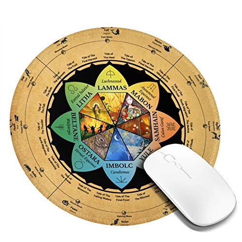 Wicca Wheel of Year Wiccan Pagan Celtic Calendar Round Mouse Pad Office Gaming Mouse Pad Gamer Computer Accessories Cool Mat Small for Girl Boy Kid Women Men Home Decor Ornaments Items