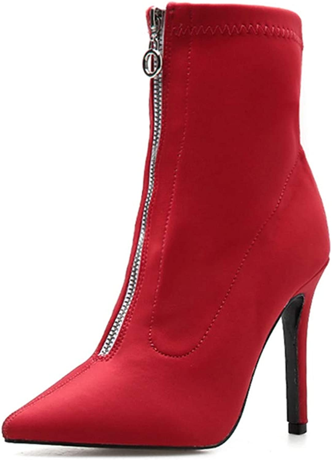 GIY Women Thin High Heels Ankle Boots Pointed Toe Fashion Stiletto Zip Stretch Socks Party Pumps Boots