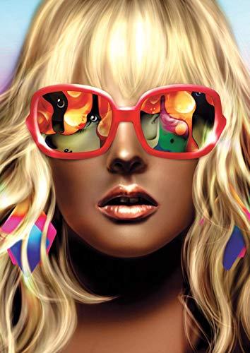 Nieuwe verf op nummer voor volwassenen Kinderen -Realistische figuurtekening van mooie vrouwen met zonnebril- DIY digitaal schilderen op nummerkits op canvas