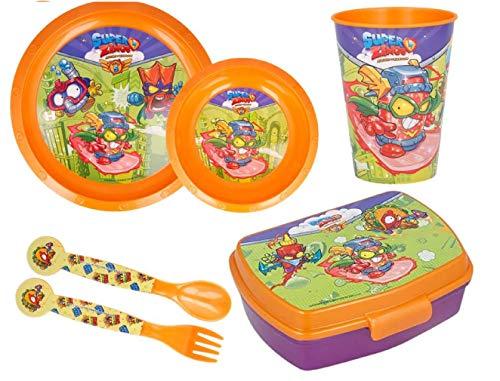 Set de 6 pcs- juego de vajillas para niños. Plato, Cuenco, Taza sanduchera, cubiertos color naranja