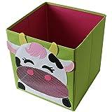 4 Stück TE-Trend Textil Faltbox Spielbox Tiermotive Frosch Affe Eule Kuh Aufbewahrung Truhe für Spielzeug faltbar 28 x 28 x 28 cm - 5
