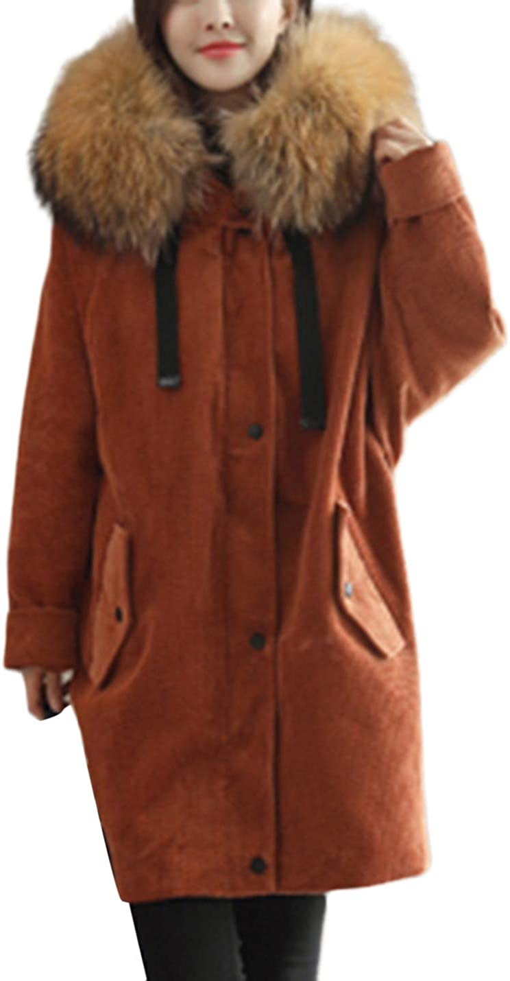Uaneo Women's Casual Thick Faux Fur Collar Hoodie Corduroy Mid Long Parka Jackets(Caramel-M)