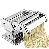 Máquina para hacer pasta, máquina manual con cortador de masa 2 en 1 y 6 ajustes de grosor ajustables para pasta casera, espaguetis, fettuccini, 21 x 14 x 19 cm