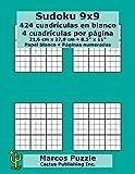 Sudoku 9x9 - 424 cuadrículas en blanco: 4 cuadrículas por página; 21,6 x 27,9 cm; 8,5 x 11; Papel blanco; Números de página; Number Place; Nanpure; 9 x 9 Plantilla de Puzle