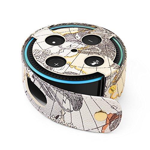 TNP Hülle für Amazon Echo Dot 2. Generation Intelligenter Lautsprecher, Premium Schutzhülle Tasche aus veganem Leder, Reisetasche Tragetasche Cover Case für Smart Home Dot Zubehör, Weltkarte