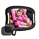 FITNATE LED Baby Car Mirror, Safety Infant in Backseat 360°Adjustable Light Up Mirror for Baby Rear with Best Newborn Secure 4 Sturdy Strips,Remote Control and 2 Car Sun Visors