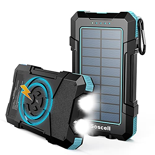Solar Power Bank 20000mAh, Suscell Waterproof Wireless Solar Portable Charger, Dual USB 5V/2.1A Output Ports Outdoor Durable Solar Charger Bright LED Flashlight for Camping