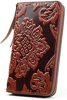 Premium 100% Genuine Leather Embossing Flower Women Wallets Large Capacity Female Purses Ladies Multi-Function Wallets
