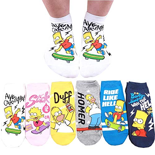 Die Simpson Sneakersocken Animation Comics Süß Charakter Knöchel Socken 6 Paaren