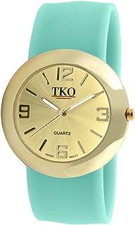 TKO ORLOGI Women Fashion Gold Metal Slap Watch with Silicone Slip-On Bracelet