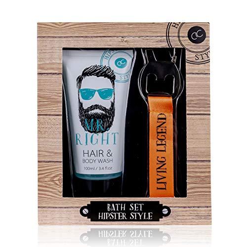 Accenten, Hipster Style, cadeauset voor mannen, incl. douchegel en shampoo (2 in 1) en een sleutelhanger met flesopener, alles aantrekkelijk verpakt in een geschenkdoos