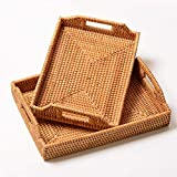 Serving Tray with Handles Rectangular Rattan Wicker Decorative Trays Large for Coffee Tea Fruit Drink Drinks Breakfast Snack On Table Ottoman Style by NATURAL NEO (2)