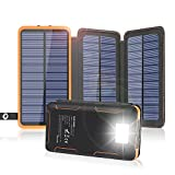 Solar Charger 24000mAh, FEELLE Solar Power Bank with High-Efficiency Foldable Panels and Flashlight, External Battery Pack for Hiking, Camping, Portable Phone Charger for iPhone, Tablet and Samsung