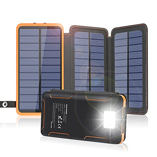 Solar Charger 24000mAh, FEELLE Solar Power Bank with High-Efficiency Foldable Panels and Flashlight, External Battery Pack for Hiking, Camping, Portable Phone Charger for iPhone, iPad and Samsung