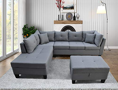 L Shape Sectional Sofa 3 Piece Set, L Shaped Sleeper Couch Sofa, Large Modern 3 Seater Sofa with Chaise Lounge, Storage Ottoman and Upholstered Linen Fabric for Living Room(Grey) (Facing Left Chaise)