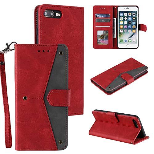 EYZUTAK Lederhülle für iPhone 7 Plus iPhone 8 Plus, Magnetverschluss Premium PU Flip Hülle Schutzhülle 3 Kartenfache Brieftasche Standfuntion Retro Kontrastfarbe - Rot