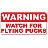 Warning Watch for Flying Pucks Retro Vintage Style Metal Sign - 12 in x 18 in