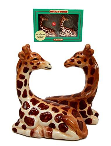 Zoo Safari Tall Giraffe Animal Lovers Ceramic Magnetic Salt Pepper Shakers Set Figurines