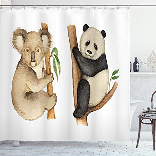 ABAKUHAUS Tier Duschvorhang, Koala Panda Aquarell, mit 12 Ringe Set Wasserdicht Stielvoll Modern Farbfest & Schimmel Resistent, 175x180 cm, Beige Schwarz