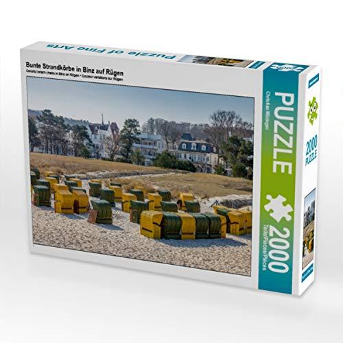 CALVENDO Puzzle Bunte Strandkörbe in Binz auf Rügen 2000 Teile Lege-Größe 90 x 67 cm Foto-Puzzle Bild von Christian Müringer