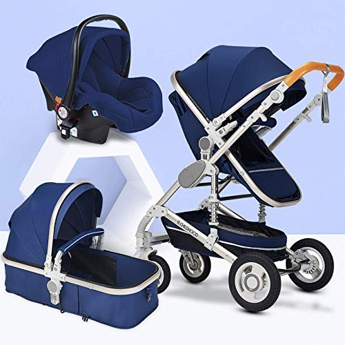 GFHJ1201 Cochecito De Bebé 3 En 1, Cochecito De Bebé Reversible De Alta Vista con Sombrilla Ajustable, Sistema De Viaje Plegable para Cochecito De Bebé con Función De Mentira(Color:Azul Marino)