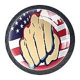 4PCS Pomo de armario,tirador para cajón,Pomos y Tiradores de Muebles,Pomos,pomos,para Puertas,Armarios de Cocina,Cajones - un solo agujero,Mano del puño con la bandera americana