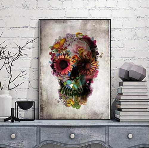 mmzki Affiche pour la Chambre des garçons DOD Fleur Crâne Crâne Art Affiche Style Nordique Jardin Décoration Hiver Pays des Merveilles Décorations Cauchemar Avant Noël 40X50 cm sans Cadre