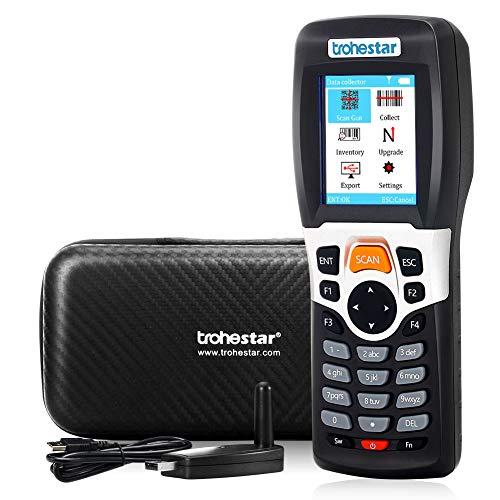 Lecteur de Code Barre sans fil 1D, Trohestar Douchette sans fil Code-barre pour l'inventaire, avec câble USB et 2,4G RF récepteur 50-200m, mémoire 4MB, pour entrepôts, supermarchés et magasins