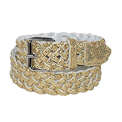 CTM Girls' Metallic Braided Belt, Medium, Gold
