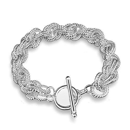 NOBRAND Braccialetto da Donna con Fibbia e gioielli Triciclico Twist Chain Bracelet Bracciale in Argento placcato lucido con Catena Robusta