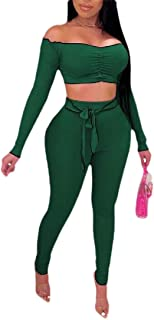 ouxiuli Women's Fashion Summer Two Piece Outfits 2 PC Sets Crop Top + Skinny Pants