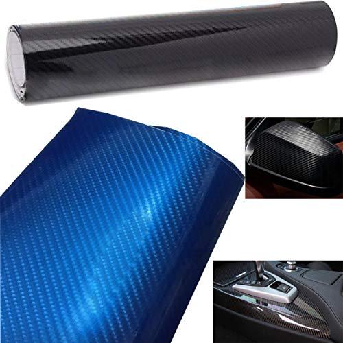 Liuer Autofolie Carbon, Folie Aufkleber KFZ LKW Schwarz 6D Carbon Folie Vinyl selbstklebend flexibel Car Wrapping Folie Hochglanz Blasenfrei mit Luftkanälen(152cm x 20 cm)