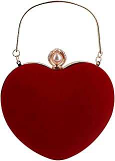 MEGAUK Herz Umhängetasche Heart-Shaped Handtasche Braut Kleid Kleine Abendtasche Elegant Schultertasche Henkel Clutch mit ...