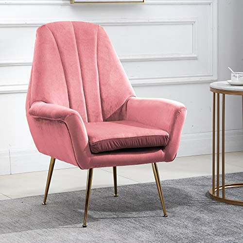 QIHANG-UK Accent Velvet Tub Chair with Metal Legs, Scalloped Occasional Armchair for Bedroom Office Lounge Reception Cafe, Living Room High Back Fireside Chair with Soft Pad, Pink