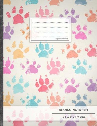 """Blanko Notizbuch • A4-Format, 100+ Seiten, Soft Cover, Register, """"Hundepfoten"""" • Original #GoodMemos Blank Notebook • Perfekt als Zeichenbuch, Skizzenbuch, Sketchbook, Leeres Malbuch"""