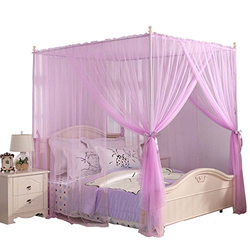 Mengersi 4 Corner Bed Canopy Curtain Bed Frame Draperies for Girls Kids Toddler (Twin, Pink)