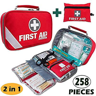 First Aid Kit (215 Piece) + Bonus 43 Piece Mini First Aid Kit - Includes Emergency Blanket, Bandage, Scissors for Home, Car, Camping, Office, Boat, and Traveling by HANGZHOU AOSI HEALTHCARE CO.,LTD