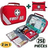 First Aid Kit (215 Piece) + Bonus 43 Piece Mini First Aid Kit - Includes Emergency Blanket, Bandage, Scissors...